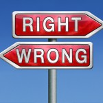 right or wrong direction or difficult choice for answers on ques